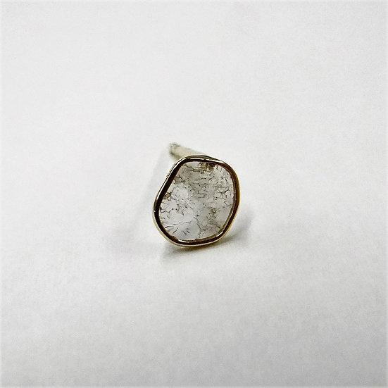 K18YG スライスダイヤモンド シングルピアス スタッドピアス