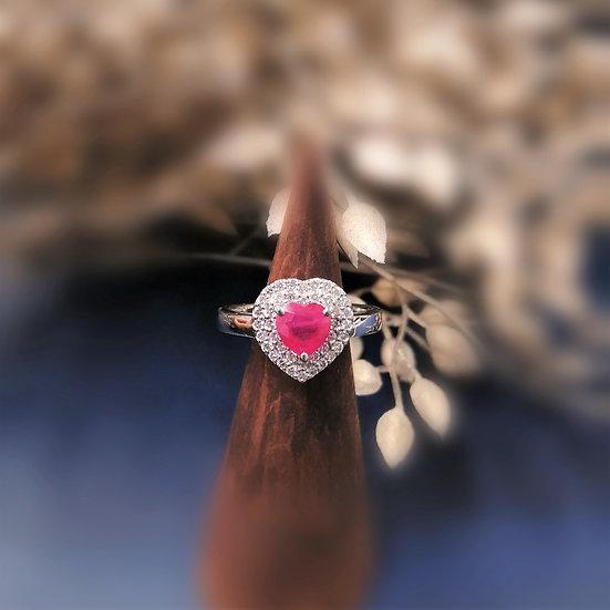 PT900 Heart Shape Ruby Diamond Ring