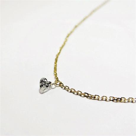 ハートシェイプ レーザーホールダイヤモンド 0.07ct 一粒ネックレス K18YG/WG/PG