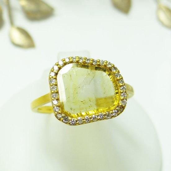 K18YG イエロー スライスダイヤモンド リング