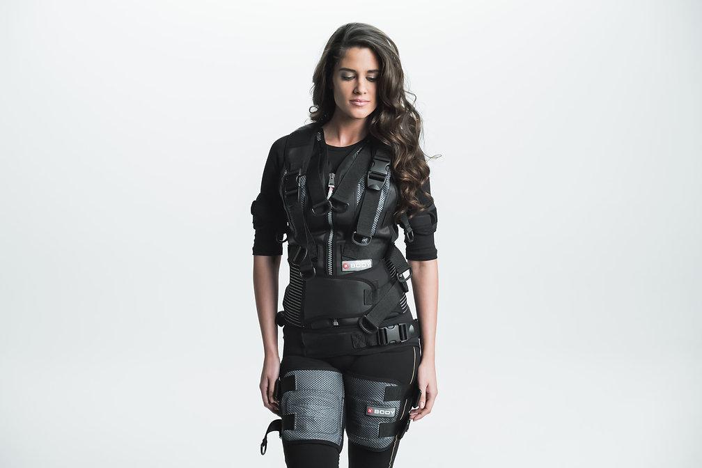 Female model wearing EMS suit