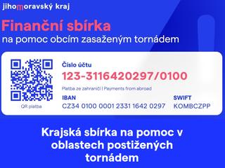 Sbírka pro obce postižené tornádem přinesla 40 000,-Kč