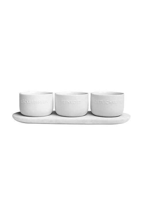 Marmor. Drei Kostbarkeiten 'Schalen-Set mit Unterlage'