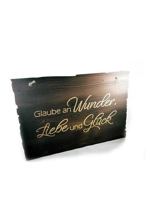 "Holztafel ""Wunder, Liebe & Glück"""