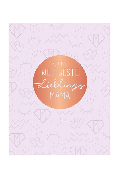 "Doppelkarte ""Lieblingsmama"" weiß/vergoldet"