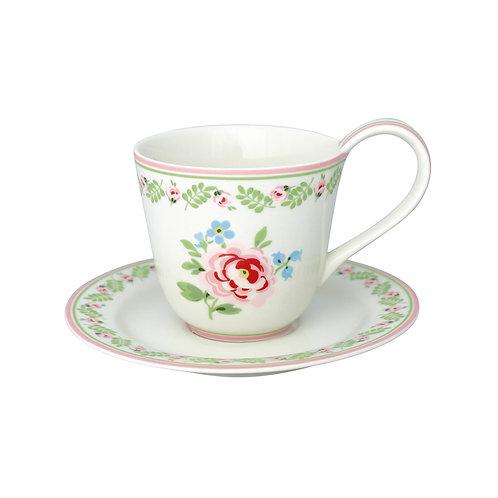 Tasse mit Unterteller Lily petit white