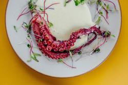 Polvo com purê de wasabi