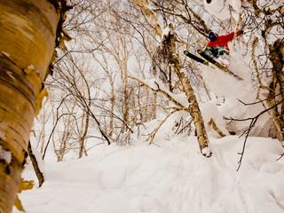 Reportaje sobre Japón para Snowplanet. Jaime Puigdengoles en los bosques de Niseko, en la Isla de Hokkaido.