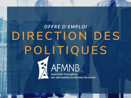 Offre d'emploi - Direction des politiques