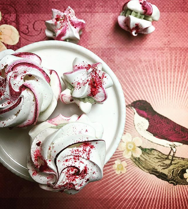 Strawberry and lime meringues, there is something about that chalky sweetness of meringues