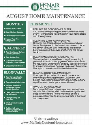 August Home Maintenance