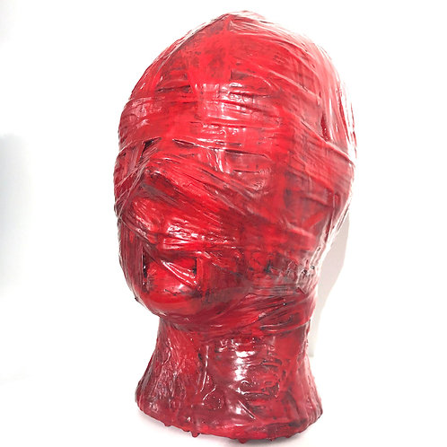Maurizio Lo Castro 'Mummia (red)' at White City Gallery London. Porcelain head sculpture 2nd Skin BDSM