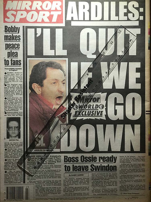 ITALIA '90 World Cup Football Daily Mirror UK Newspaper Articles