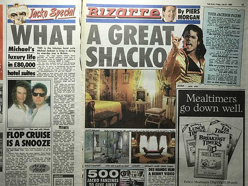1992 'What A Great Shacko' MICHAEL JACKSON The Sun News Article