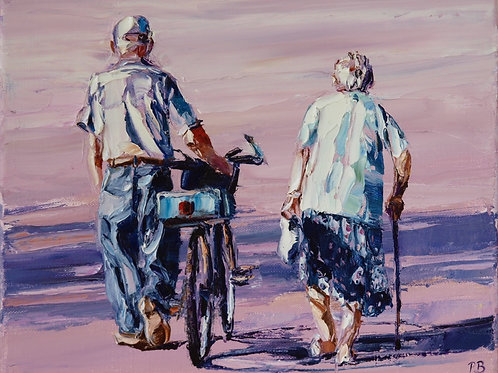 David Porteous-Butler 'Way Home' 30x24cm White City Gallery London Oil on canvas Palette knife artwork elderly couple walking