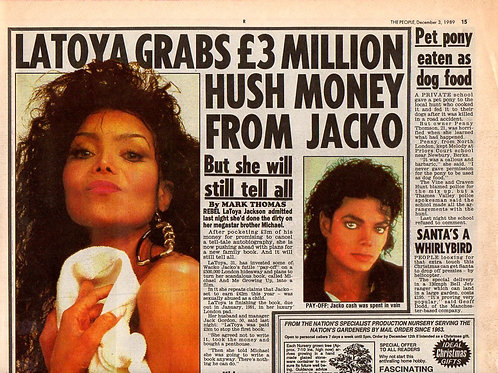 1989 Dec Latoya Grabs £3m Hush Money THE PEOPLE News Article MICHAEL JACKSON