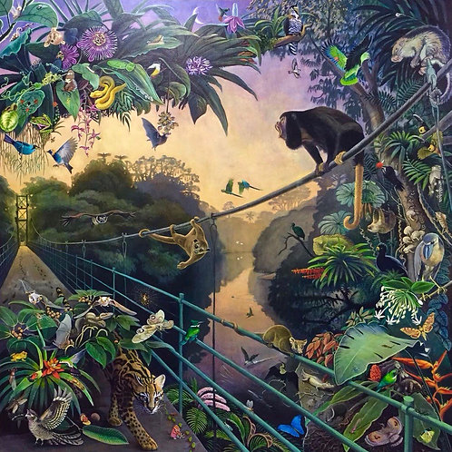 Dawn at La Selva by Deirdre Hyde (biodiversity of Costa Rica rain forest) spectacular painting from White City Gallery London