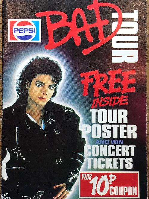 1988 PEPSI BAD TOUR Poster MICHAEL JACKSON (UK)