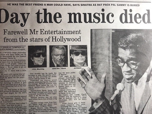 1990 'Day The Music Died' Michael Jackson Sammy Davis Jr. Daily Express