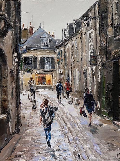 David Porteous-Butler 'Rue Saint-Lubin Blois' 38x46cm White City Gallery London Oil on canvas Palette knife artwork Townscape