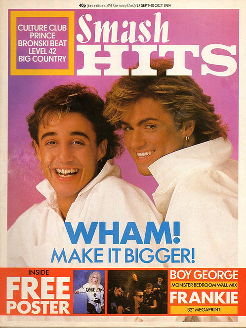 SMASH HITS MAGAZINE SEPT 1984 WHAM! BOY GEORGE PRINCE