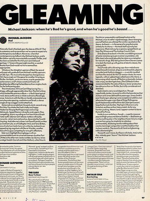 1987 Oct 'Gleaming' Review of 'Bad' Q Magazine UK Article MICHAEL JACKSON RARE
