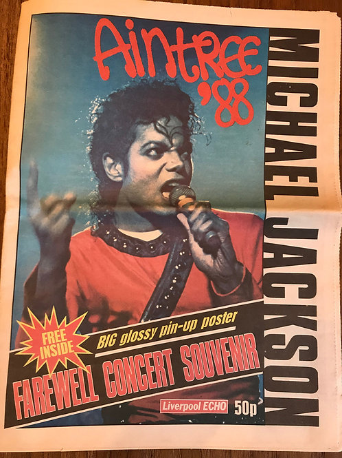 Front cover of Michael Jackson's BAD concert souvenir newspaper published by Liverpool Echo 1988
