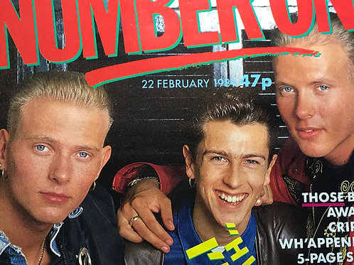 NUMBER ONE MAGAZINE cover page featuring BROS FEB 1989 BRITISH