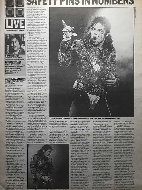 1992 Safety Pins in Numbers MICHAEL JACKSON NME Article