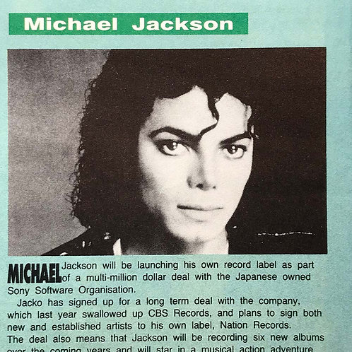 1991 RM Record Mirror Magazine Article feat. MICHAEL JACKSON (Sony Deal)