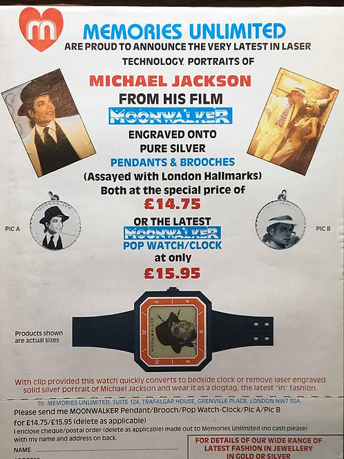 1989 'MOONWALKER WATCH' SUPER RARE PROMO ADVERT MICHAEL JACKSON