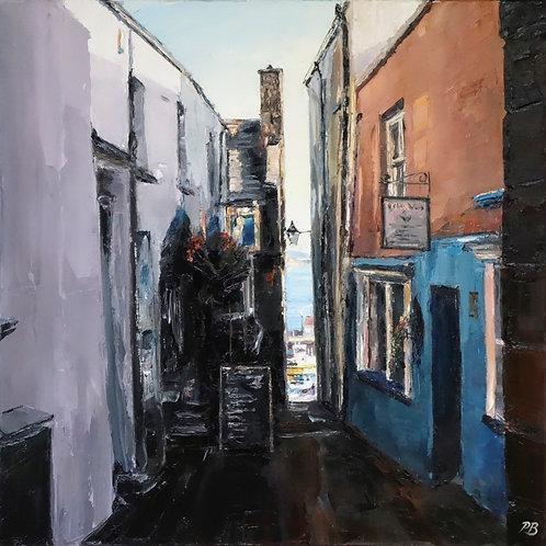 David Porteous-Butler 'Quay Hill, Tenby' 60x60cm White City Gallery London Oil on canvas Palette knife artwork Townscape lane