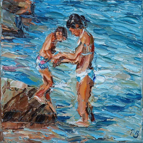David Porteous-Butler 'Jump!' 20x20cm White City Gallery London Oil on canvas Palette knife artwork mother and child swimming