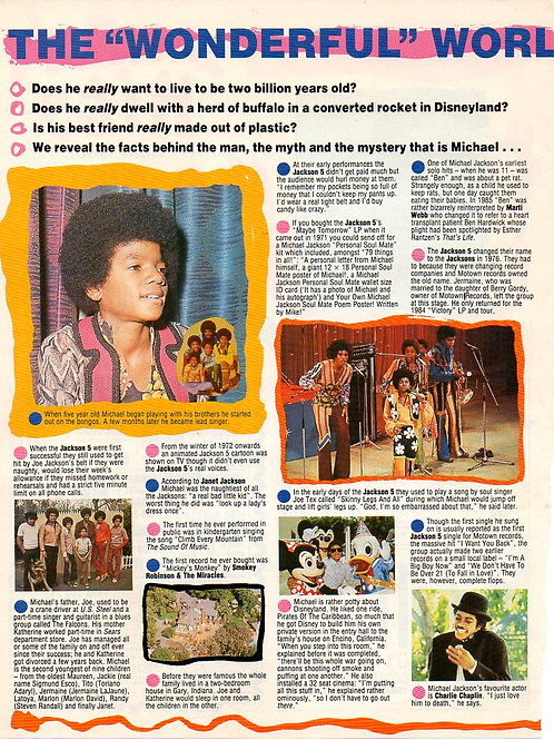 Michael Jackson article in British Smash Hits Magazine