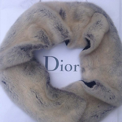 Christian Dior Vintage Grey Mink Scarf Luxury Fashion John Galliano Design
