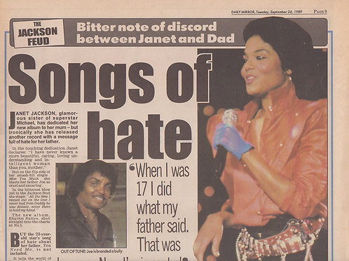 Daily Mirror Newspaper Article featuring JANET JACKSON Sep 1989