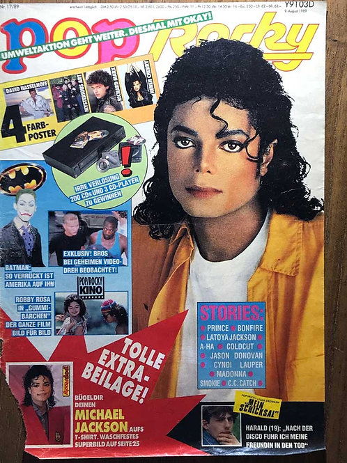 Michael Jackson on the front cover of Pop Rocky Magazine, Germany August 1989