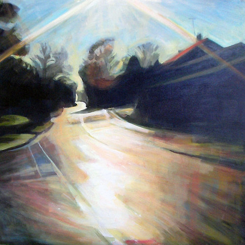Afternoon sun on a country lane in Dorset,  original painting by Deirdre Hyde, White City Gallery London