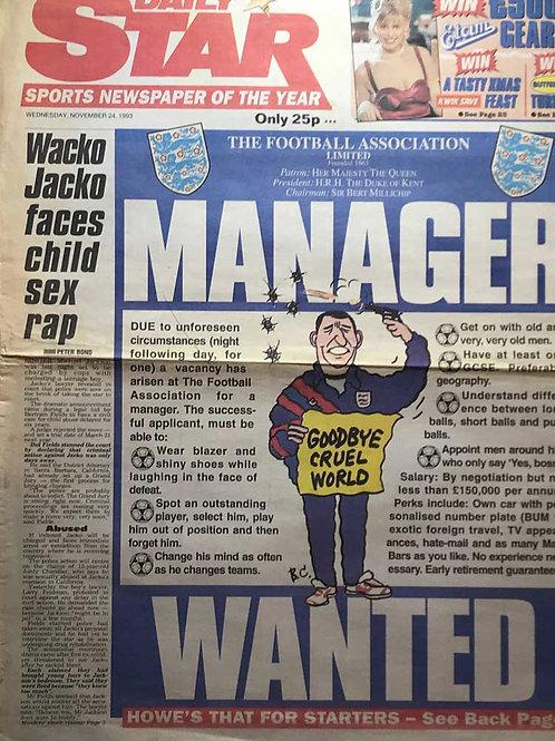 1993 Wacko Jacko Faces Child Sex Rap MICHAEL JACKSON Daily Star Article