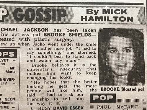 1990 Oct 14 'Brooke: Blasted Pal' NEWS OF THE WORLD Article MICHAEL JACKSON