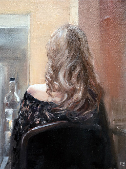 White City Gallery presents 'Blonde in Black' by David Porteous-Butler. Original oil painting female form long blonde hair
