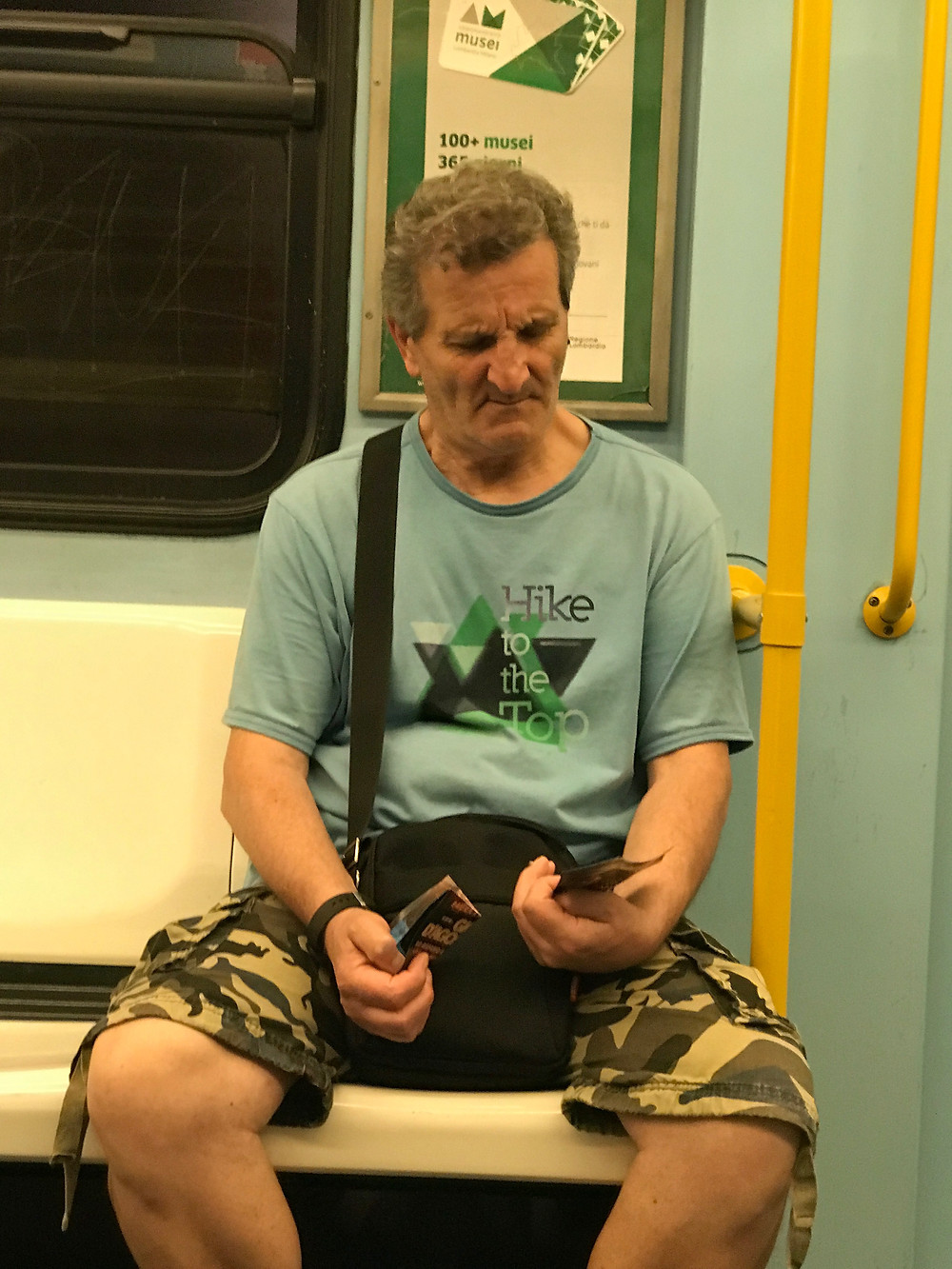 Image of a random man on a train, Milan (2017)