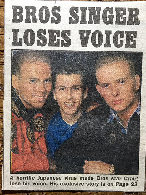 TODAY News Article BROS Singer Loses Voice Feb 1989 British
