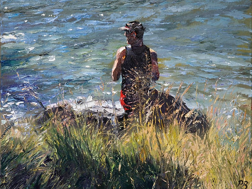 David Porteous-Butler 'Man on Rock' 50x40cm White City Gallery London Oil on canvas Palette knife artwork male form riverside