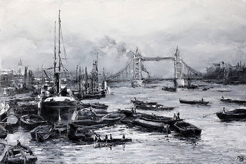 White City Gallery presents 'Pool of London 1896' by David Porteous-Butler. Original oil painting river scene Tower Bridge