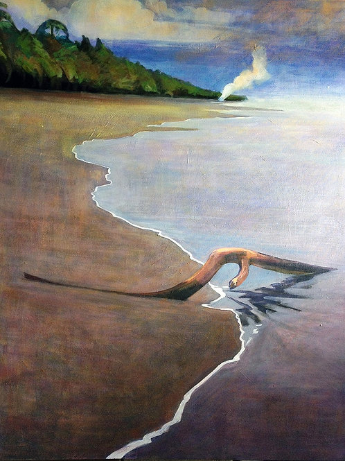A black sand beach in Costa Rica. Original painting by Deirdre Hyde, White City Gallery London