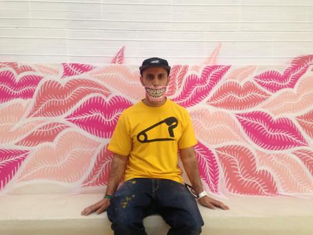 London Urban Artist PINS paints Lipweed mural at LeccoMilano Bar