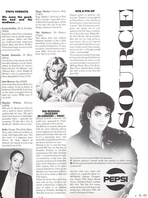 1988 June SOURCE Magazine Article MICHAEL JACKSON UK