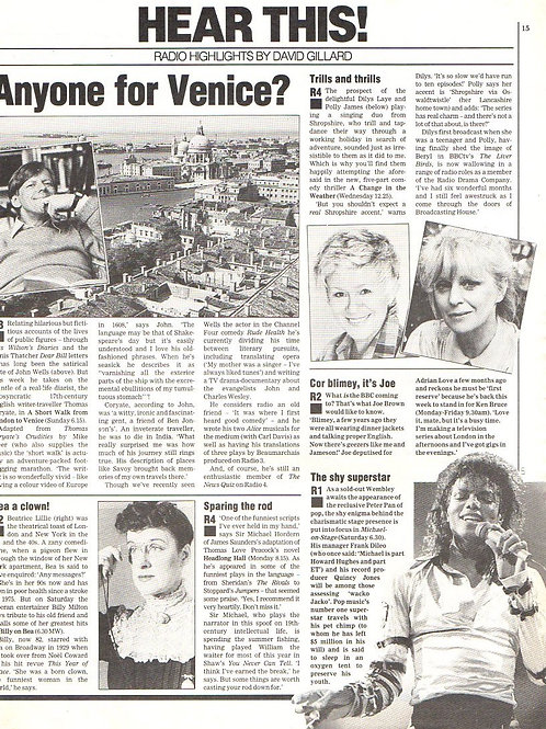 1988 June RADIO TIMES Magazine Article MICHAEL JACKSON UK