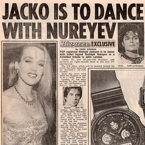 1989 Dec 15 Jacko To Dance With Nureyev SUN Article MICHAEL JACKSON